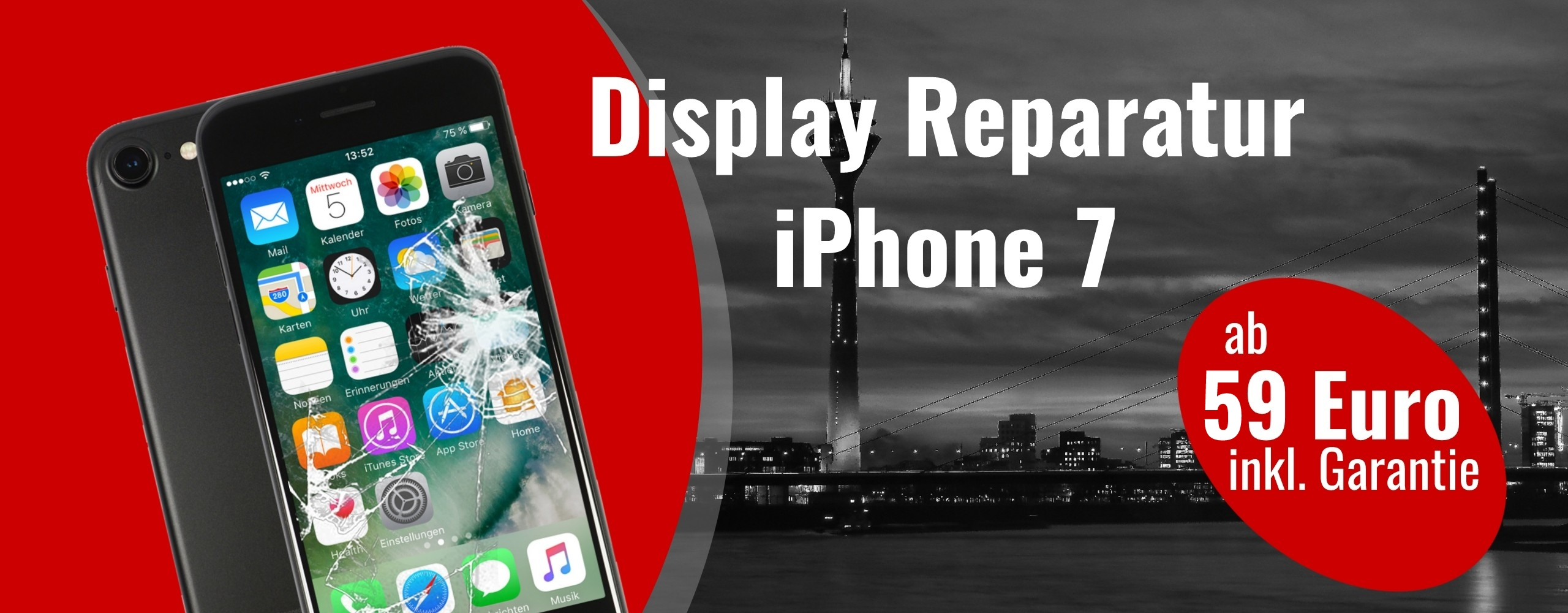 Smartphone Apple iPhone 7 Display Reparatur Glas Austausch