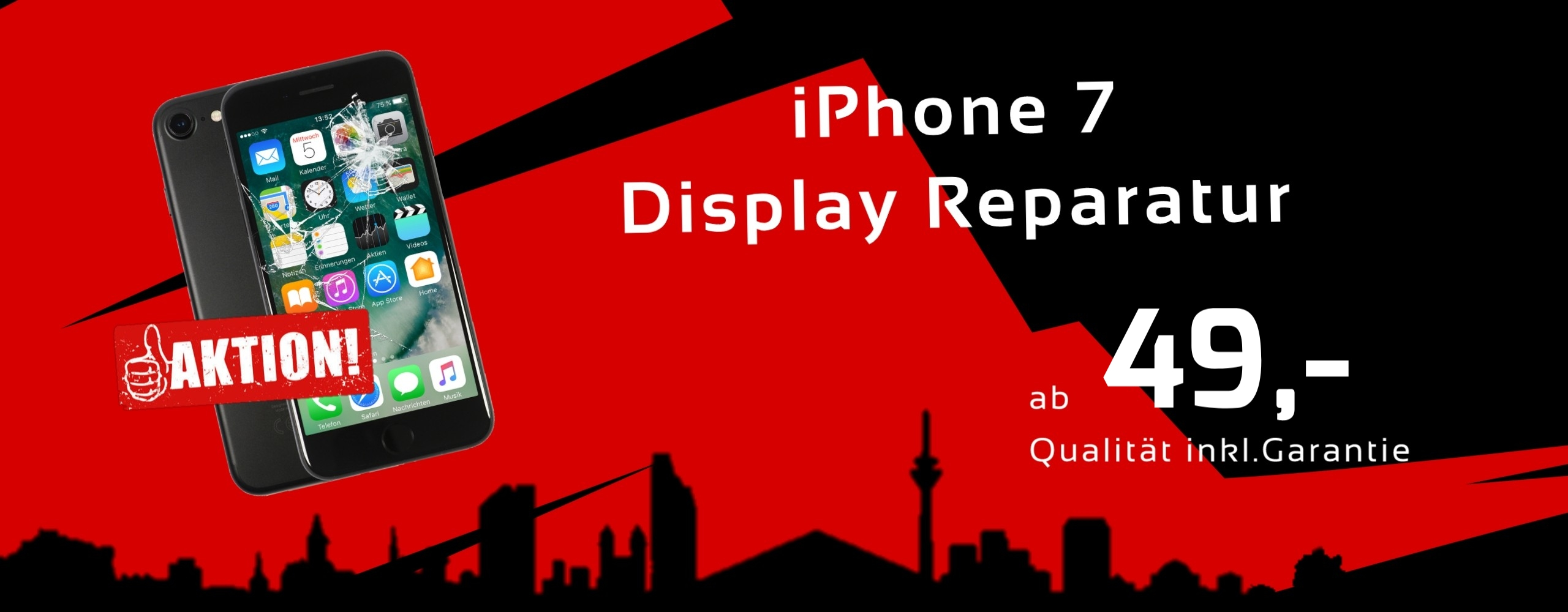 Smartphone Apple iPhone 7 Display Glas Reparatur Preis