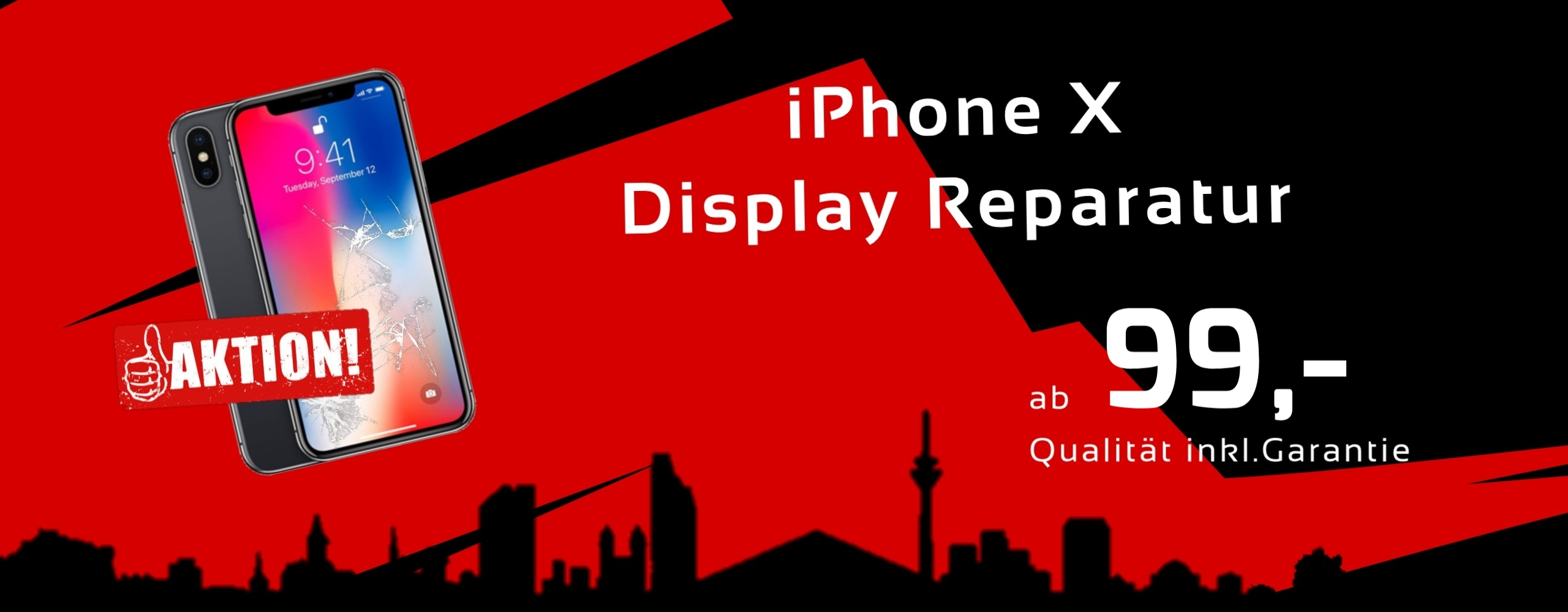 Smartphone Apple iPhone X Display Glas Reparatur Preis